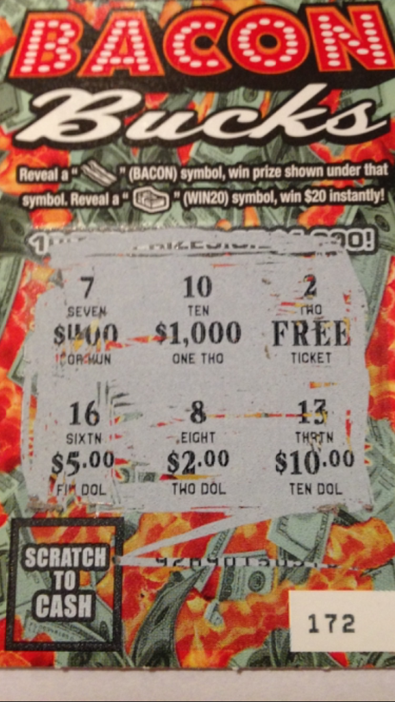 My winning BACON BUCKS ticket from the PA Lottery