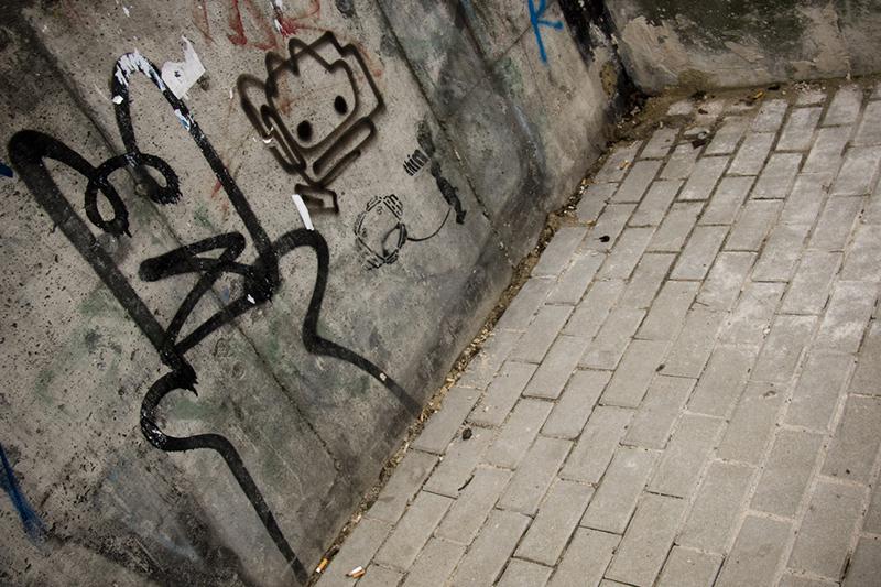Cat graffiti and think stencil art in Berlin-Friedrichshain.