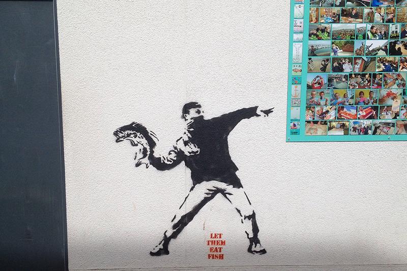Let them eat fish. Banksy in Brixham