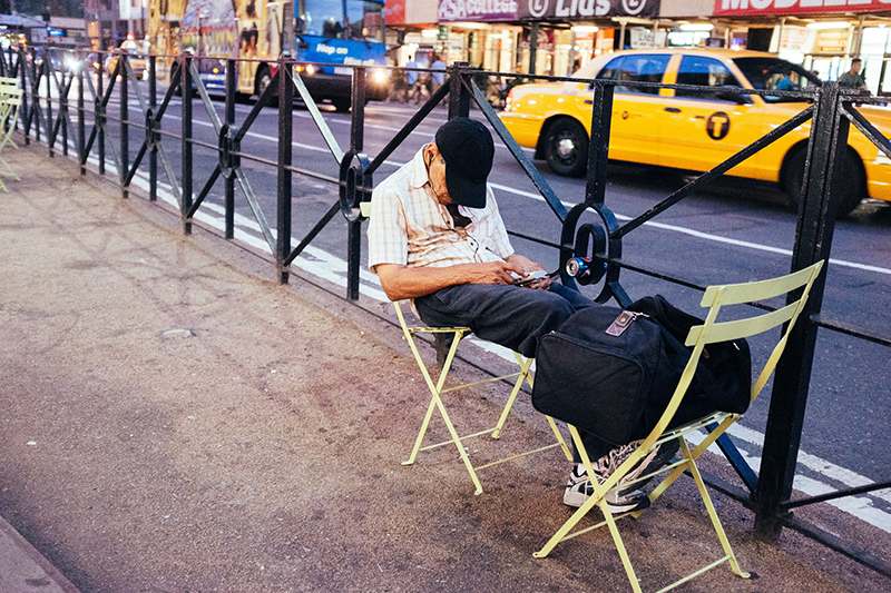 Man sleeps comfortably in Korea Town