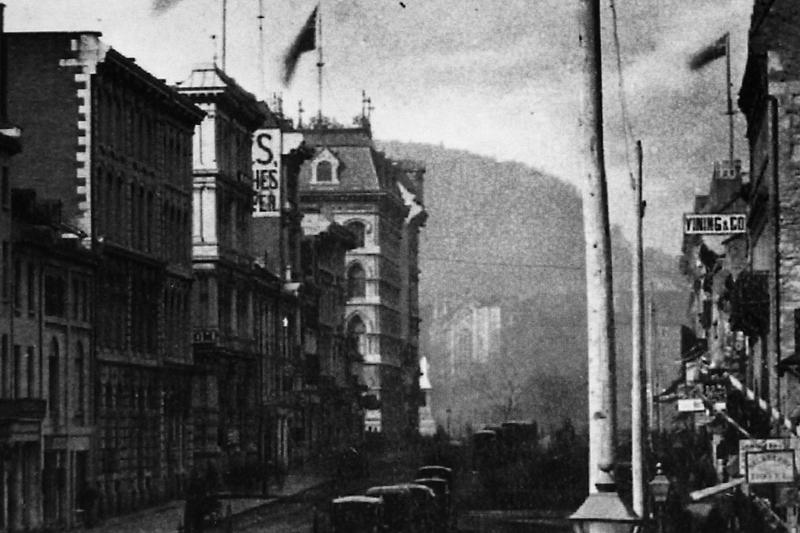 Montréal 1871-72. Rue McGill (détail) - Nord, depuis rue St-Paul.