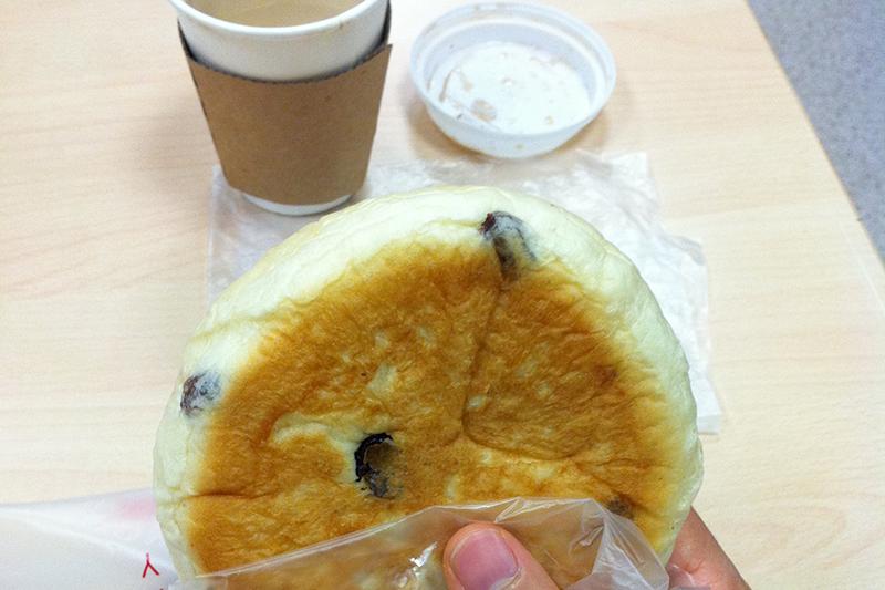 Breakfast bun and coffee